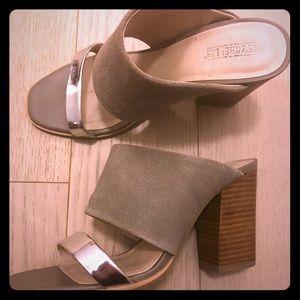 Seychelles neutral/silver block summer heels
